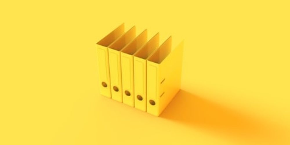 Yellow Office Ring Binders 3d illustration 3d render