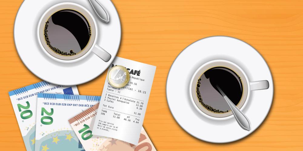 tasse de caf - brasserie - addition - caftria -repas - compte - djeuner