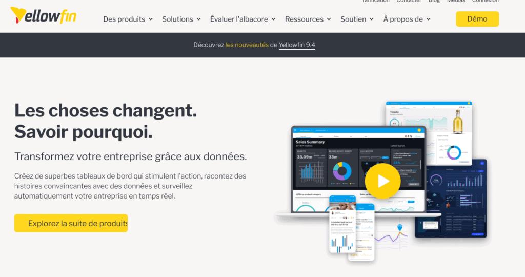 Listes d'outils de business intelligence : Yellowfin